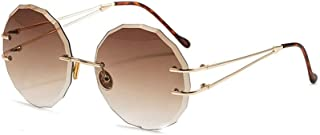 LUKEEXIN Fashion Frameless Trimming Marine Piece Sunglasses for Women, UV Protection (Color : Tan)