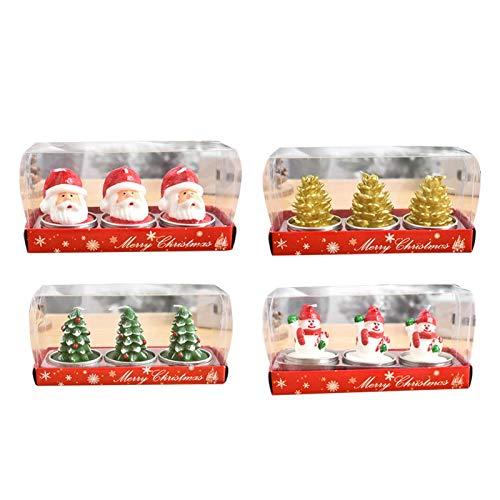 12 Stück Weihnachts-Teelichter Kerzen, Schneemann Tannenzapfen Weihnachtsmann Weihnachtsbaum Kerzen für Zuhause Weihnachtskerzen Dekoration