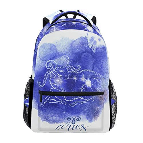 Jeansame Rugzak School Tas Laptop Reistassen voor Kids Jongens Meisjes Vrouwen Mannen Ram Astrologie Sterren Constellatie