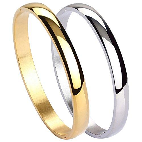MILAKOO 2 Stück Edelstahl Armband für Frauen Mädchen Hochglanz Armband Gerillte Manschette Armreif 7
