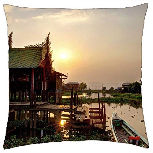 LESGAULEST Throw Pillow Cover (18x18 inch) - Myanmar Burma Inle Lake Sunset HDR Temple