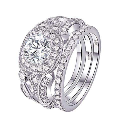 Newshe Wedding Rings for Women Engagement Set 925 Sterling Silver 2ct Round White AAA Cz Size 8