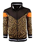SCREENSHOT-F11005 Mens Urban Hip Hop Premium Track Jacket - Slim Fit Side Taping Animal Leopard Pattern Urbanwear Fashion Top-Brown/Tiger-Large