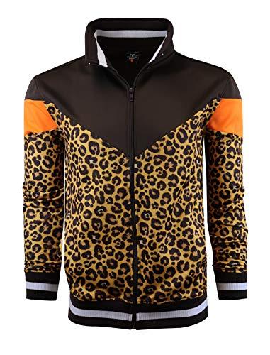 ScreenSHOT - Chaqueta de pista para hombre urbana de alta calidad, ajuste ajustado, ropa deportiva urbana, F11005-marrón/leopardo, Small