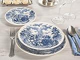 H&H 825262 English Country Servizio Tavola 18 Pezzi, Stoneware, Decoro Blu