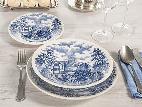 H&H 825262 - Juego de mesa de campo inglés (18 piezas), color azul