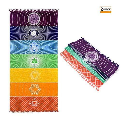 Liwein 2 stücke Böhmen Yoga Decke,Mandala Yoga Handtuch 7 Chakra Regenbogen Streifen Wand Hängen Indien Tapisserie Quasten Strandtuch Yoga Matte Schal