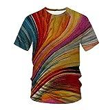 Womteam Camiseta de manga corta para hombre de verano casual slim 3D impreso superior al aire libre deporte blusa