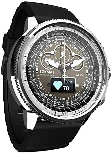 Reloj de pulsera de cuarzo para hombre, cronógrafo, resistente al agua, con control de calorías, podómetro, cronómetro, reloj inteligente con Bluetooth, correa de silicona, color plateado y plateado