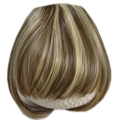 RemyHaar.eu - Clip In Extensions Pony Stirnfransen Haarteil Pony Verdichtung Haarverlängerung Gerade Pony Form - 10/22#(Mix Hellbraun-Blond)