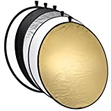 Mantona Collapsible Reflector 5 in 1 110 cm Gold Silver Black White and Diffusion Panel