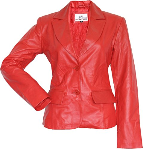 German Wear Damen Lederblazer Lederjacke Blazer Echtleder Jacke aus Lammnappa Leder Rot, Größe:L