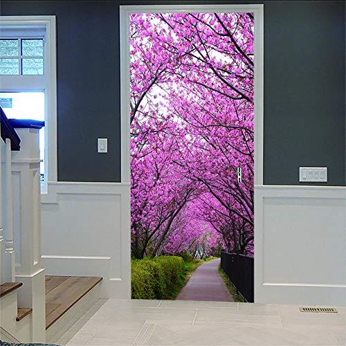 OHEHE Etiqueta de puerta Rastro de flor de cerezo PVC Adhesivo Fotográfico Pegatina Vinilos Decorativos para Puerta Pared Cocina Sala de Baño 77x200cm