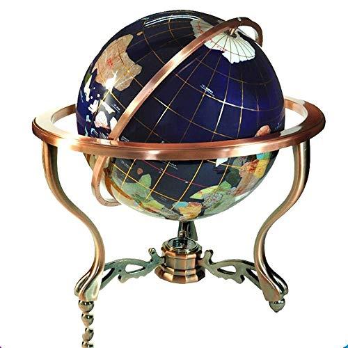 HIZLJJ Blue Gemstone Lapis Ocean Globe avec 4-Pied for Le Bureau ou à Domicile Parfait Enfant Cadeau éducatif