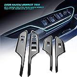 Reposabrazos para automóvil - 1 juego de 4 piezas de fibra de carbono con manija de la puerta Reposabrazos de ajuste adecuado para Honda Civic 2016-2017 (manejo por la izquierda y por la derecha)