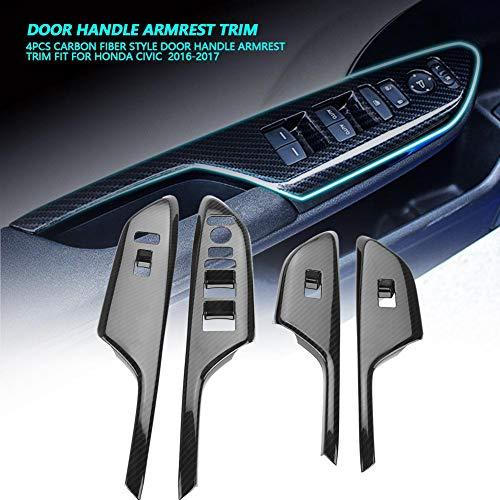 Outbit Auto-Armlehne - 1 Satz mit 4 PC-Carbon-Armaturenbrett-Armlehnen für Honda Civic 2016-2017 (Linkslenkung und Rechtslenkung) (Größe : Left-Hand Driving)