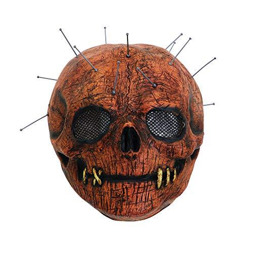 Bristol Novelty BM546 Skull Pin Mask Latex, Men, Women, Brown, One Size