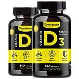 Vitamina D3 Cápsulas de 5000 UI (Paquete de 2). 240 cápsulas de Vitamina D de Alta Potencia (5000 UI) en aceite de oliva extra virgen para mayor absorción