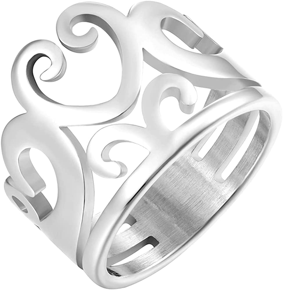 Stainless Steel Braid Wave Knot Crown Style Wedding Statement Party Anniversary Ring