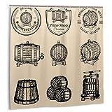 Bestpillow Set de Cortinas de baño para decoración de baño,colección de barriles de Madera para Bebidas alcohólicas Iconos o letreros Cortinas de baño de Tela con Ganchos 150cmx180cm