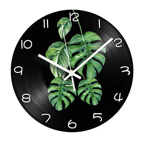 HHKLSF Green Leaves Record CD Clock Silent Mechanism Shabby Chic Reloj De...
