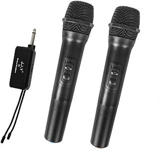 AMERTEER Wireless Microphone, Uhf Metal Dynamic Handheld Karaoke Mic, Rechargeable Receiver (Work 6hs), 328ft Range, for K...