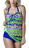 FEOYA - Traje de Baño Bikini de 2 piezas Bañador de Mujer Tallas Grandes Elástico Estampado Floral Ropa de Natación para Playa Fiesta de Piscina - Multicolor 1 - Talla XXL (ES 40)