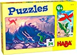 HABA- Puzzles Dragones Infantil, Multicolor (306159)