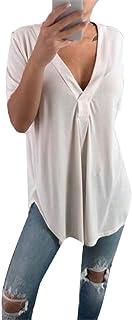 OTW Women V-Neck Loose Fit Short Sleeve Solid Color Summer Top T-Shirt Blouse