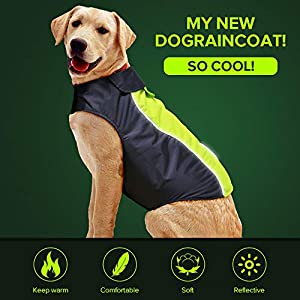Dog Raincoat Waterproof Lightweight High Visibility Adjustable Dog Rain Warm Jacket with Soft Fleece Clothes for Small Medium Large Dogs
