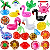 Danirora Inflatable Drink Holders, 20 Pcs Drink Floats for Pool Party Favors Barbie Floaties Pool Floats Donut Drink Holder Pool Cup Holders