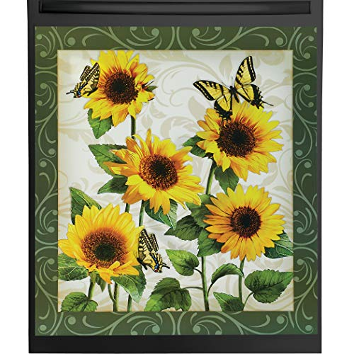 Beautiful Sunflower Garden with Butterflies Kitchen Dishwasher Magnet - For Metal Washers - Decorative Floral Cover for all Seasons - 23' L x 26' H