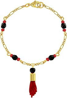 """In Season Jewelry 18k Gold Plated Evil Eye Protection Red Figa Hand Amulet Good Luck Bracelet 7.5"""""""