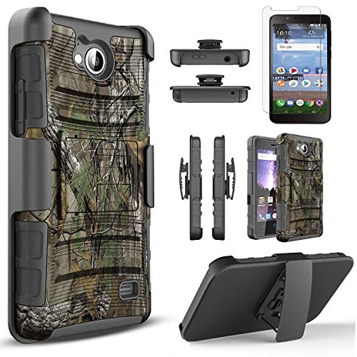 Alcatel Tetra 5041C Case, With [Tempered Glass Screen Protector Included], Circlemalls Built-In Kickstand Belt Clip Holster Heavy Duty Protective Phone Cover Bundled And Stylus Pen-Camo