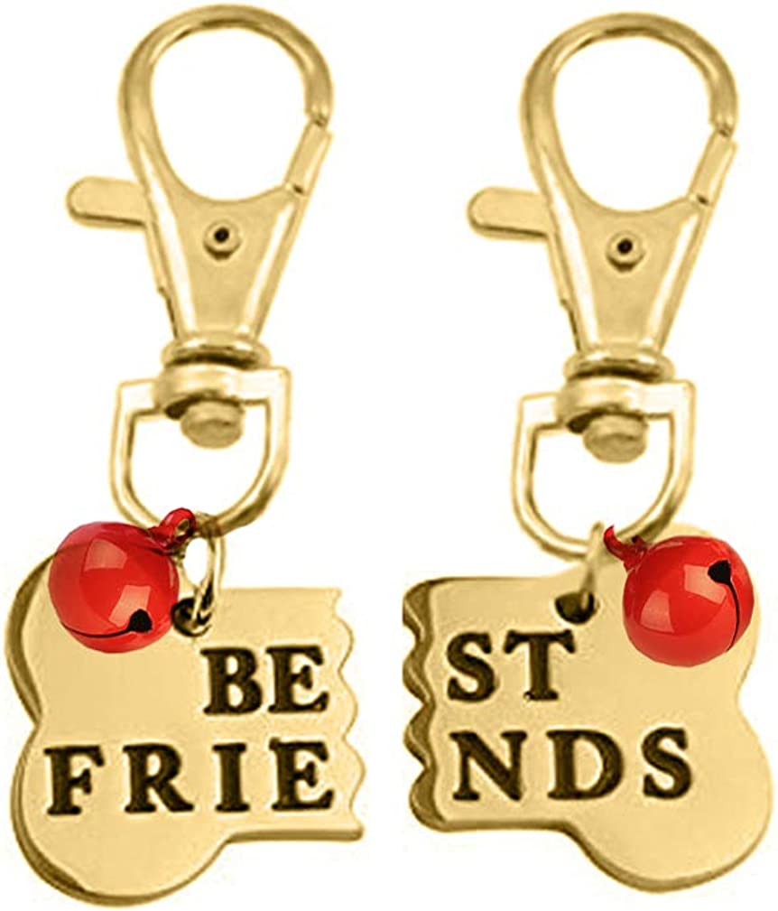 Personalized Custom Pet ID Tag Best Friend Bone Necklace Keychain Matching Bone BFF Engraved Collar Dog Cat Human Jewelry Set Pet Lover Gift Rose Gold Plated Stainless Steel