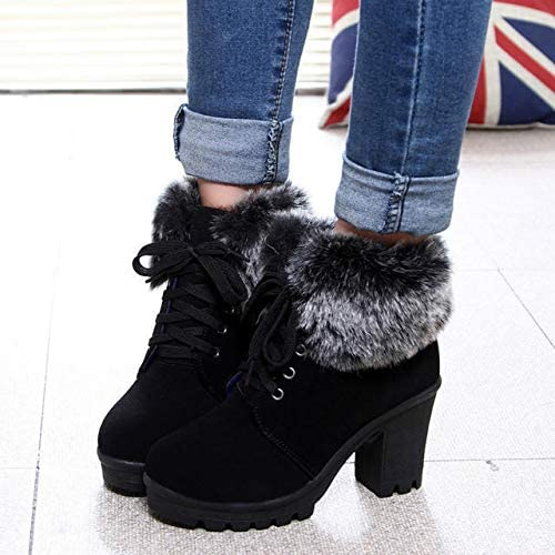 HOESCZS Bottes Femmes Wohommes Autumn and and Winter New Décontracté Wohommes bottes Waterproof Platform Thick with High Heeled Round Head Wohommes chaussures Cuffed Thick Martin bottes  authentique en ligne