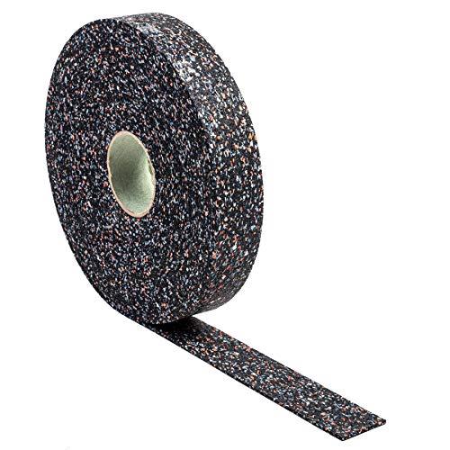 Terrassenpads auf Rolle (20m x 50mm x 3mm) - Gummigranulat, Bautenschutzmatte, Unterlegpads, Terrassenbau - Streifen Gummipads als Unterlage für WPC Terrassendielen und Terrassenplatten - 20Mx50x3mm