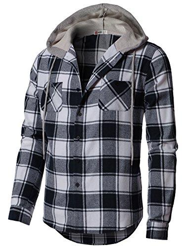H2H Men's Lightweight Hoodie Plaid Flannel Shirt Navy US M/Asia L (CMOJA0105)