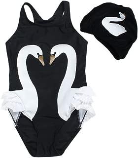 Baby Toddler Girls One-Piece Swan Swimsuits Ruffle Bathing Suit Beachwear