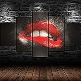 JJJKK Quadro su Tela 5 Pezzi Quadri Moderni su Tela Non Tessuta Stampa Labbra Rosse Sexy Bocca Bite Kiss Artwork Allungato e incorniciato Stampa Decorativa su Tela