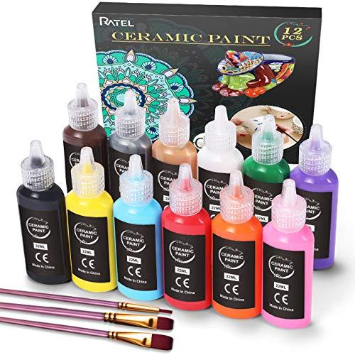 RATEL Pintura para Porcelana y Cerámica, 12 x 22 ml Colores cerámicos resistentes al agua+ 3 Pincel, colores de cerámica ideales para pintar tazas de tazas, Lavable en lavavajillas Pinturas Acrílicas