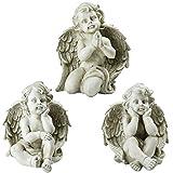 Northlight Set of 3 Sitting Cherub Angel Decorative Outdoor Garden Statues 11'