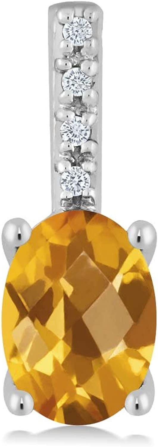 14K White gold Women's Oval Checkerboard Yellow Citrine and Round White Diamond Pendant Necklace (7X5MM Center, 0.72 cttw)