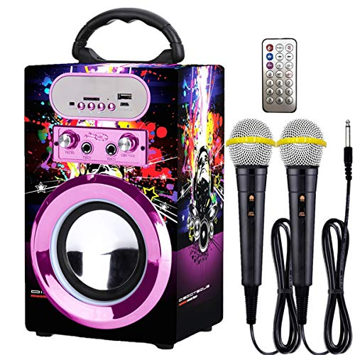 Kidsonor Kids Bluetooth Karaoke Machine with 2 Microphones, Wireless Rechargeable Remote Control Portable Karaoke Speaker Music MP3 Player Loudspeaker with Microphones for Kids Adults (Purple)
