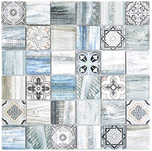 Quadrat Crystal mix hellblau Mosaikfliese Wand Fliesenspiegel Küche Dusche Bad