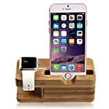 Hapurs Apple Watch Stand, iWatch Bamboo Wood Charging Dock Charge Station Stock Cradle Holder for Apple Watch or Iwatch Series 2 Both 38mm and 42mm & iPhone X 8 8 Plus 7 7 Plus 6 6 Plus 5S 5 5C SE