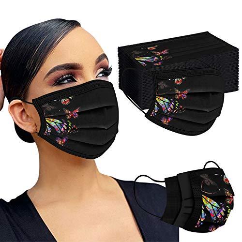 50PC Mascarilla Desechable Máscara Negra Protectora De Tres Capas De Impresión De Posicionamiento De Mariposa Adulta Mujer Industrial 3Ply Ear Loop Para Actividades Fiesta Al Aire Libre