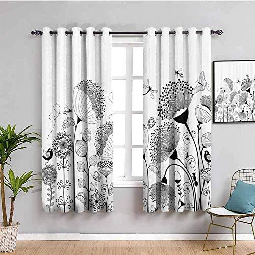 ZLYYH Ventanas Con Cortinas Blanco negro flor mariposa 168x183cm Cortinas Dormitorio Opacas Suaves con Ojales Térmicas Aislantes Resistente a la Suciedad Rayos UV 2 Piezas Proteger Su Privacidad