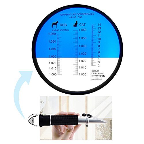 Handheld Clinical Refractometer with ATC Tri Scale Serum Protien, Urine Specific Gravity, RI Measure 1.333~1.360 RI for Veterinary Dog Cat and Pet Owner