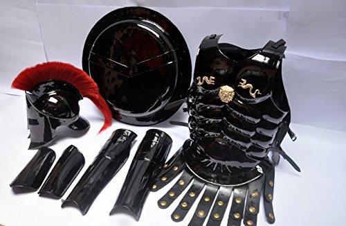 Medieval Roman King Leonidas 300 Spartan Helmet W/Red Plume + Muscle Armor + Shield + Leg Or Arm Guard by NauticalMart